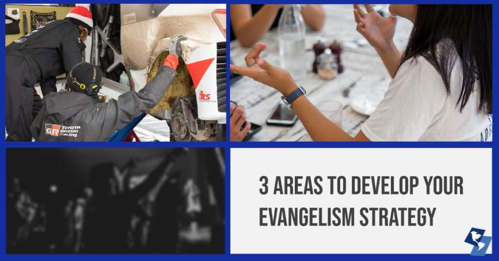 3 area collage for church evangelism strategy: community service, worship and personal evangelism