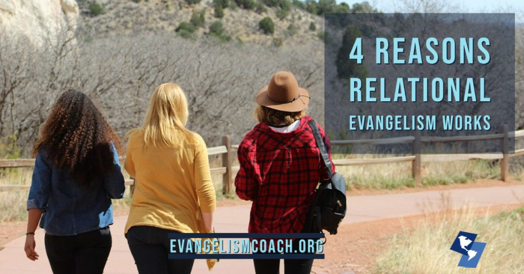 3 women walking, relational evangelism works