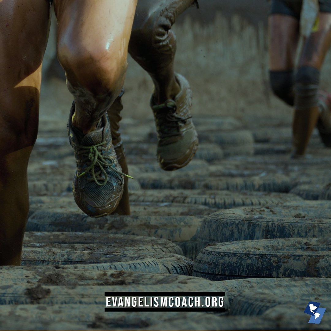 Muddy Runners through tire obstacles course to suggest obstacles to personal evangelism