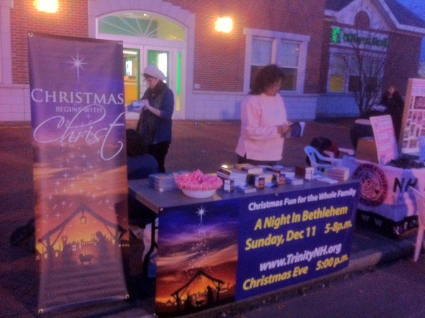 This church used this event to promote two Christmas activities. Each year on the Saturday after Thanksgiving, the city turns Main Street into a walking district. Close to 30,000 people from across New England visit downtown Nashua to officially kick-off the Christmas season.