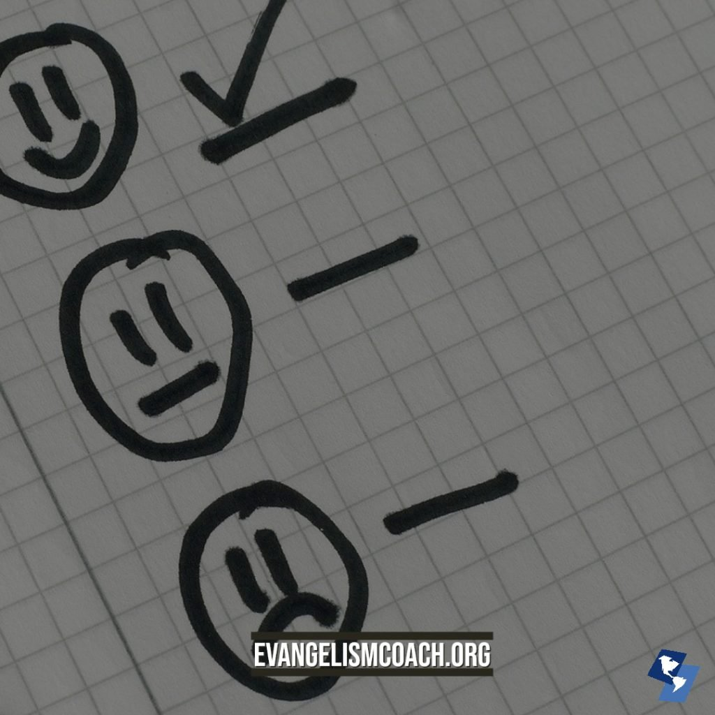 3 face icons (happy, neutral, frown) checklist for church visitors