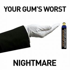 White Gloved Hand of an Usher, palm up, expecting you to give them something.  Caption: Your Gum's Worst Nightmare