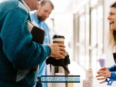 Man getting coffee at church coffee bar