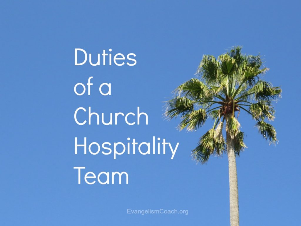 Areas of focus or duties that  a church hospitaliity team or welcome committee might cover