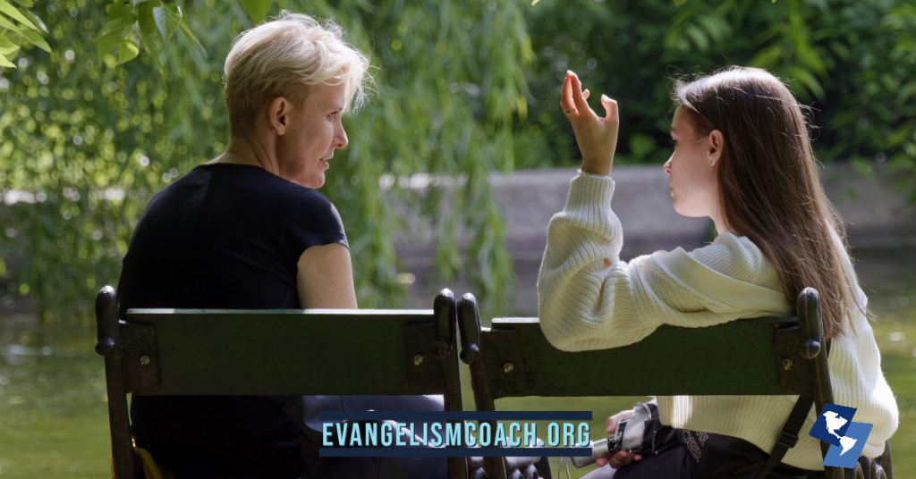 Two women talk on a bench - evangelism fear i don't know what to say.
