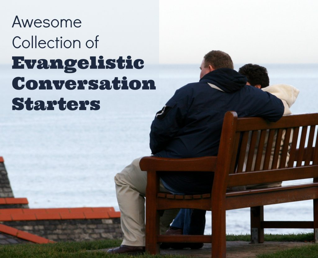 Collection of Awesome conversational Starters for personal evangelism.  Couple sitting on a bench