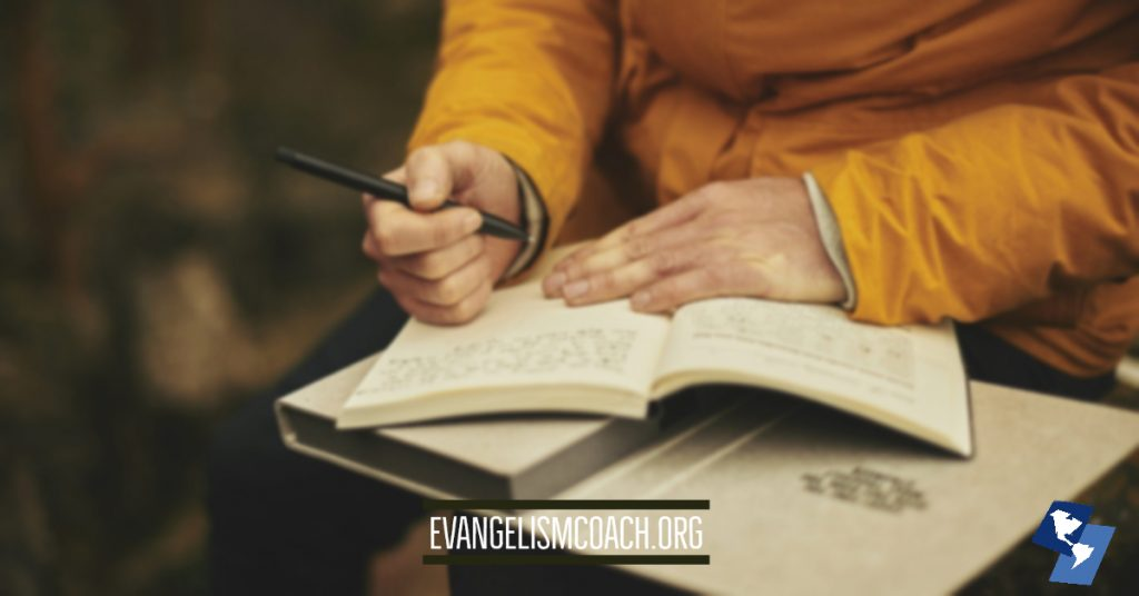 Person Journaling to be thinking about personal evangelism
