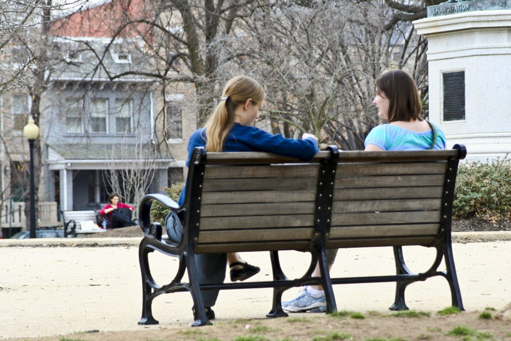 Evangelism Conversations between two women on a bench