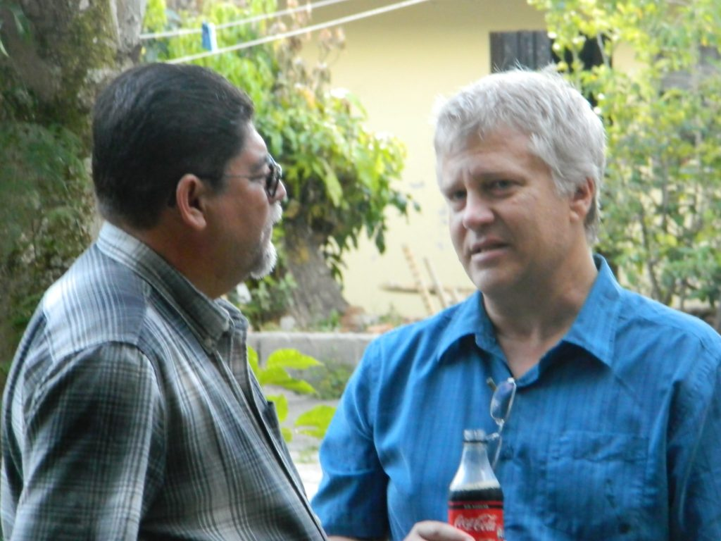 Chris talking with a Nicaraguan pastor