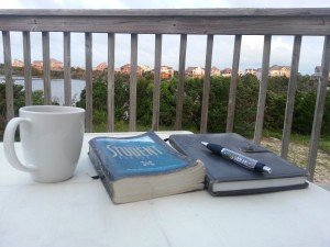 Coffee Cup, Bible, Journal for Morning Devotions on Evangelism
