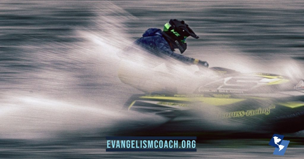 jet ski racer, propelled forwad