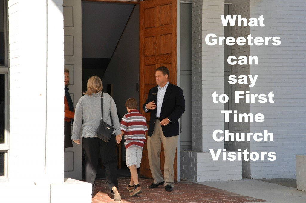 What Church Greeters can Say to First Time Church Visitors - small talk suggestions to avoid awkward moments.