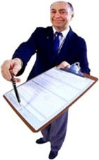 salesman holding clipboard