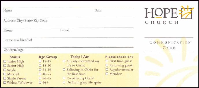 Church Information Card Template Pictures to Pin – Church Survey Template
